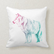 Wolf Throw Cushion in Pink and Teal