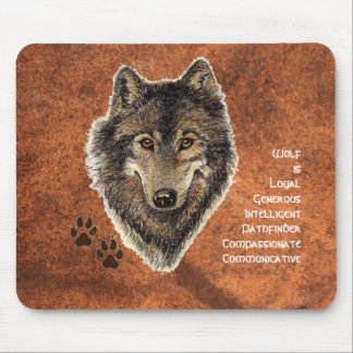 Wolf Totem, Animal Guide Inspirational Symbol Mouse Pad