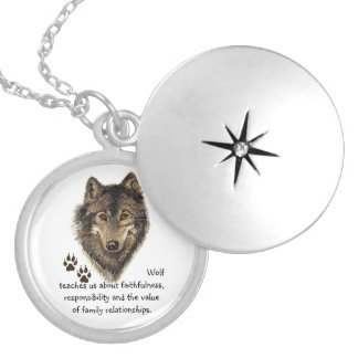 Wolf Totem, Animal Guide Inspirational Symbol Round Locket Necklace