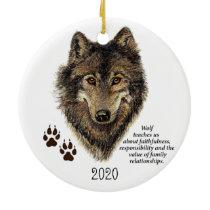 Wolf Totem Animal Guide Watercolor Nature Art Ceramic Ornament