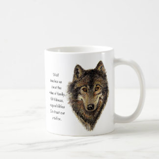 Wolf Totem Animal Guide Watercolor Nature Art Classic White Coffee Mug