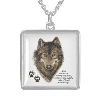 Wolf Totem Animal Guide Watercolor Nature Art Custom Necklace