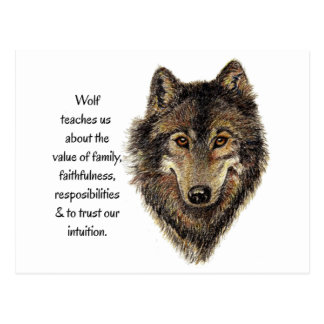 Wolf Totem Animal Guide Watercolor Nature Art Postcard