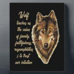 """Wolf Totem Animal Spirit Guide for Inspiration Plaque<br><div class=""""desc"""">Watercolor Wolf Head Logo Art with Totem Spirit Guide Wisdom or Advice Wolf teaches us about the value of family,  faithfulness,  responsibilities and to trust our intuition.</div>"""