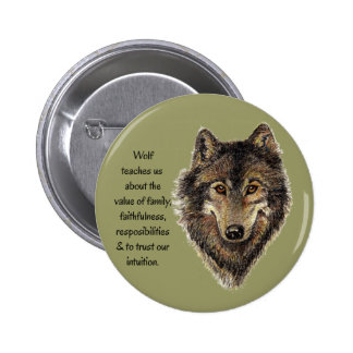 Wolf totem Inspirational Spirit Guide Animal Buttons