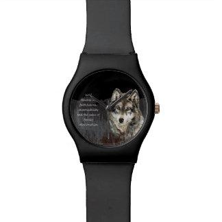 Wolf Totem Spirit Animal Guide watercolor art Wrist Watch