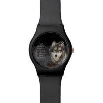 Wolf Totem Spirit Animal Guide watercolor art Wristwatch