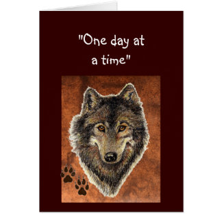 """Wolf & Tracks Quote """"One Day at a Time"""" Card"""