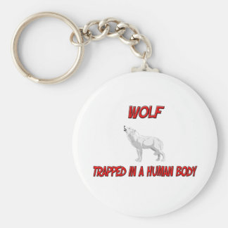 Wolf trapped in a human body key chain