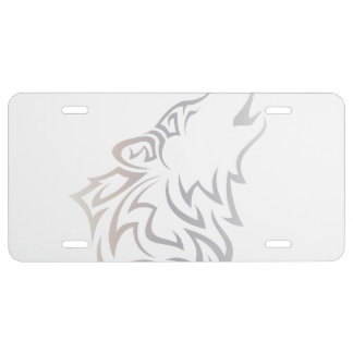 Wolf Tribal White Beige Taupe License Plate