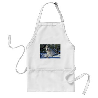 Wolf watches biologists in Yellowstone National Pa Adult Apron