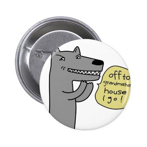 Wolf (white) pinback button