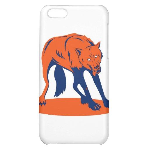 wolf wild dog attacking retro iPhone 5C case