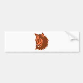 wolf wild dog head retro bumper sticker