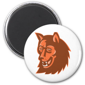 wolf wild dog head retro magnet