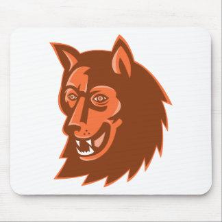 wolf wild dog head retro mouse pad