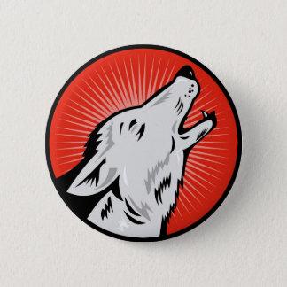 wolf wild dog head retro pinback button