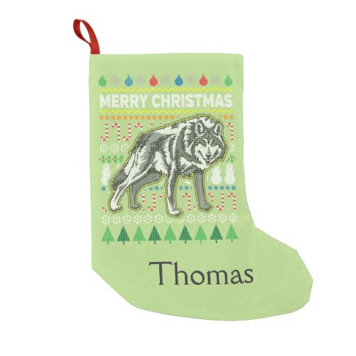 Wolf Wildlife Merry Christmas Ugly Sweater Small Christmas Stocking