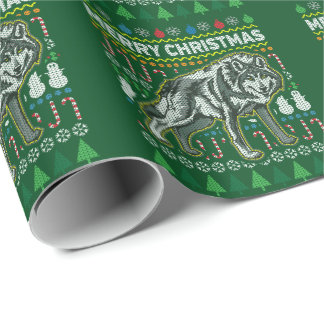 Wolf Wildlife Merry Christmas Ugly Sweater Style Wrapping Paper