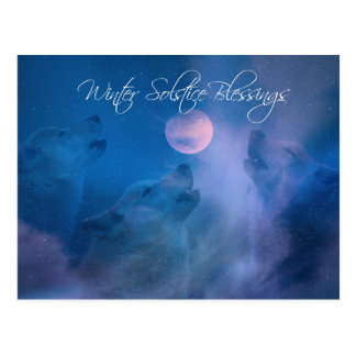 Wolf Winter Solstice Blessings Postcard