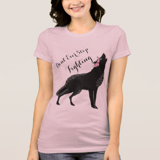 Wolf With Pink Roses Wreath Encouragement Shirt