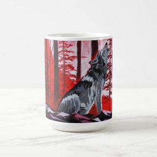 Wolf with red sky coffee mug