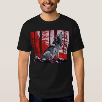 Wolf with red sky shirt