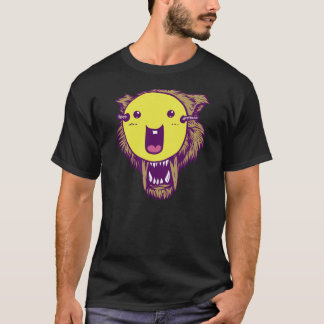 Wolf with Smiley Face T-Shirt