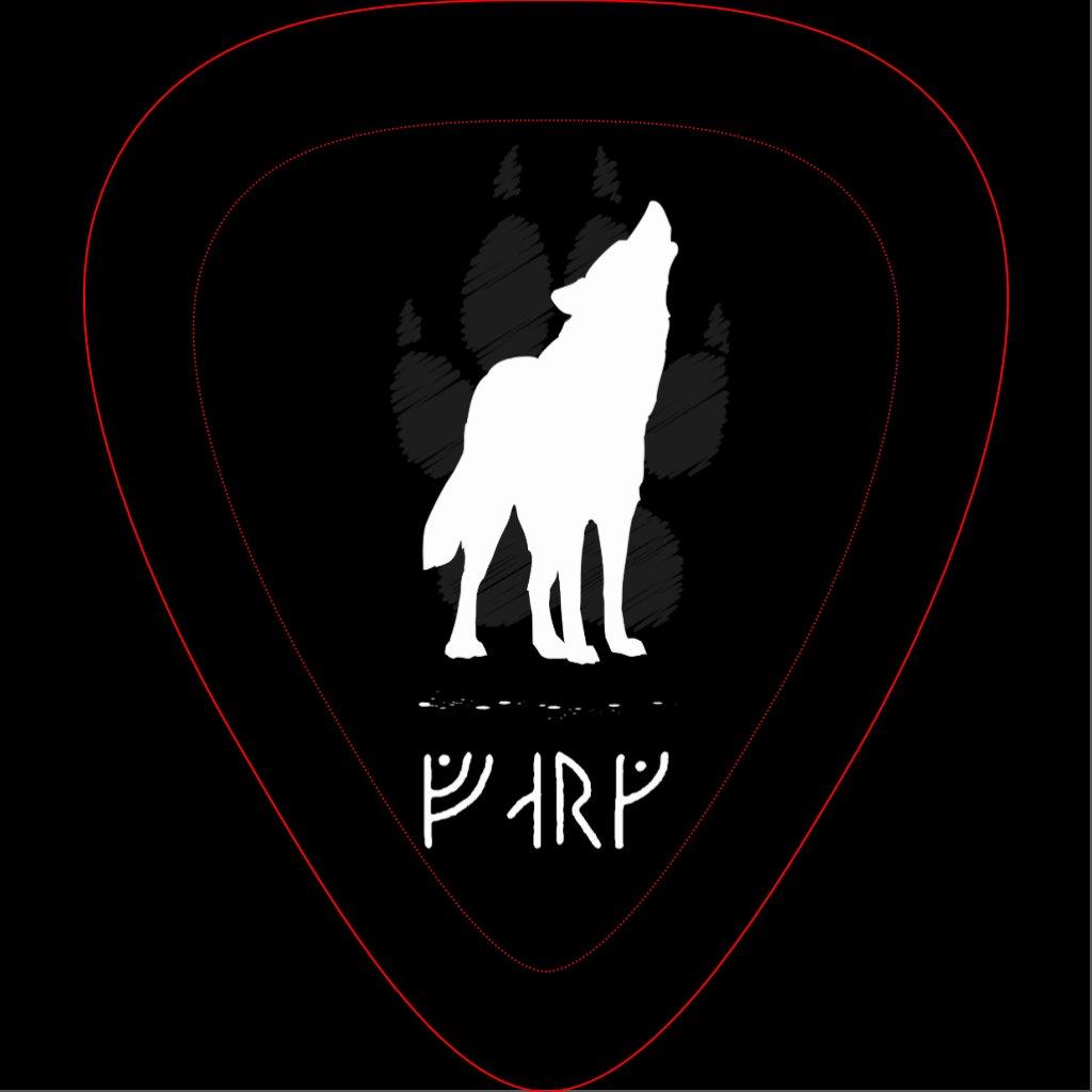 Wolf with viking runes...