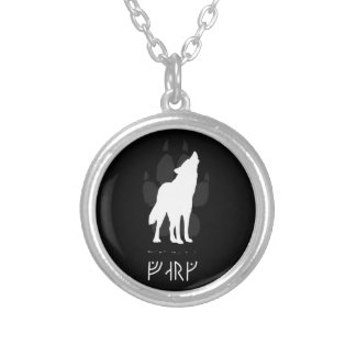 Wolf with viking runes silver plated necklace