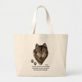 Wolf, Wolves Animal Totem, Nature Guide Jumbo Tote Bag