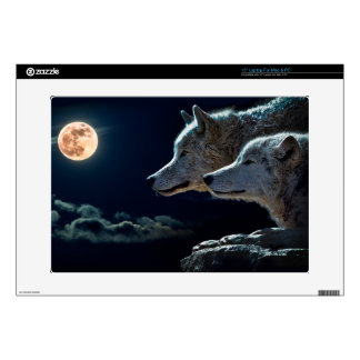 "Wolf Wolves Howling at the Full Moon 15"" Laptop Decal"