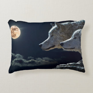 Wolf Wolves Howling at the Full Moon at Night Accent Pillow