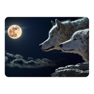 Wolf Wolves Howling at the Full Moon at Night Card