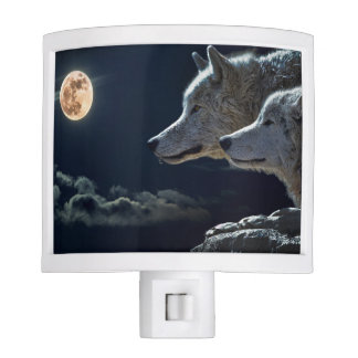 Wolf Wolves Howling at the Full Moon at Night Nite Light