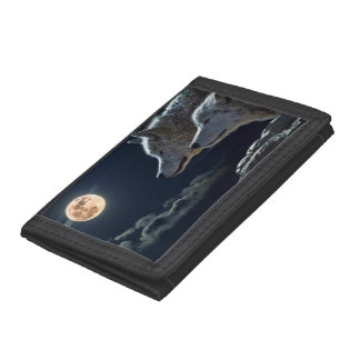 Wolf Wolves Howling at the Full Moon at Night Tri-fold Wallet