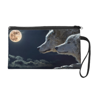 Wolf Wolves Howling at the Full Moon at Night Wristlet