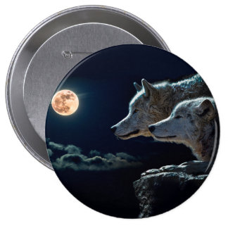 Wolf Wolves Howling at the Full Moon Button