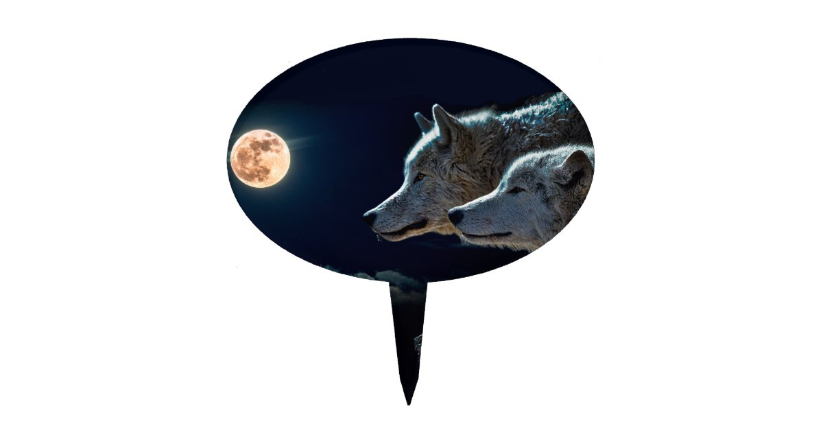 Wolf Wolves Howling at the Full Moon Cake Topper | Zazzle.com