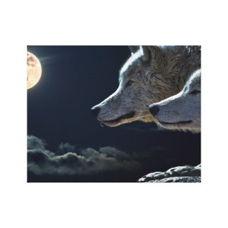 Wolf Wolves Howling at the Full Moon Canvas Print