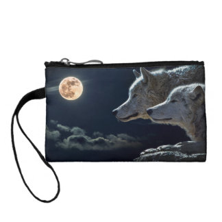 Wolf Wolves Howling at the Full Moon Coin Purse