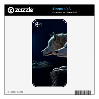 Wolf Wolves Howling at the Full Moon Decal For iPhone 4