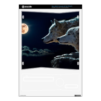 Wolf Wolves Howling at the Full Moon Decal For Xbox 360 S