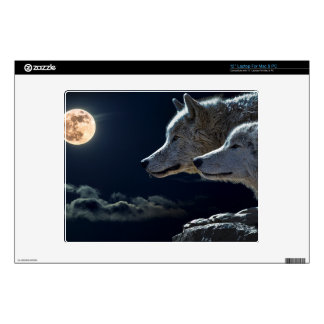 "Wolf Wolves Howling at the Full Moon Decals For 12"" Laptops"