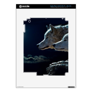 Wolf Wolves Howling at the Full Moon iPad 3 Skin