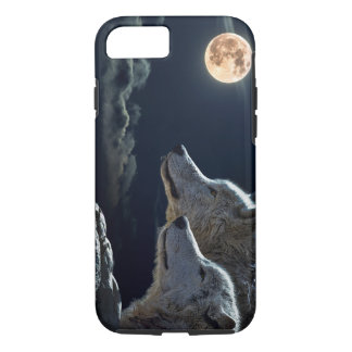 Wolf Wolves Howling at the Full Moon iPhone 7 Case