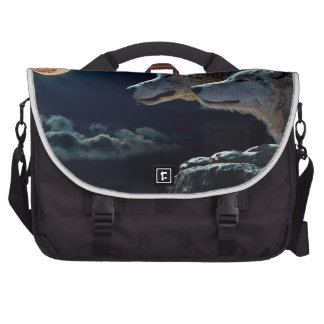 Wolf Wolves Howling at the Full Moon Laptop Bags