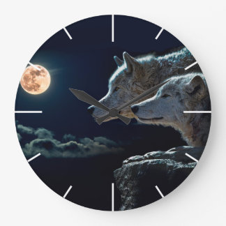 Wolf Wolves Howling at the Full Moon Large Clock