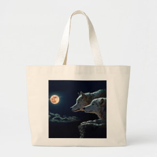 Wolf Wolves Howling at the Full Moon Large Tote Bag