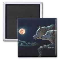 Wolf Wolves Howling at the Full Moon Magnet